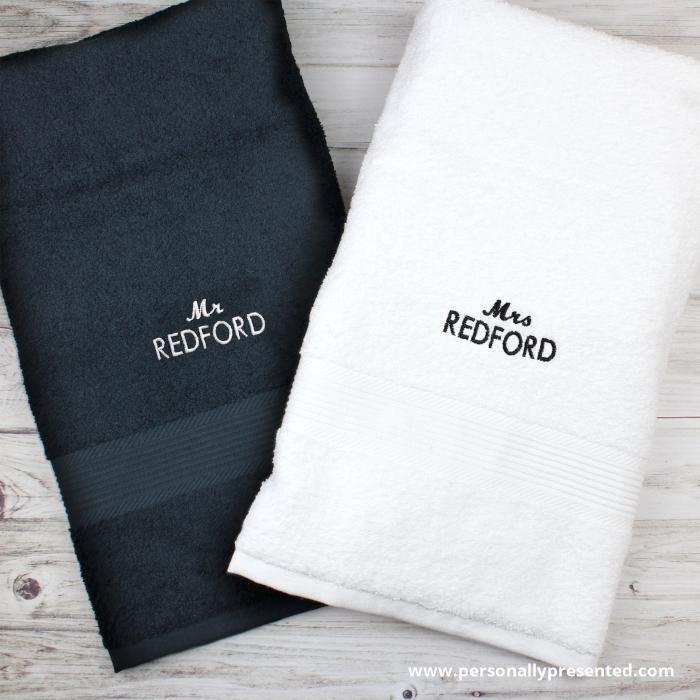 Personalised Mr Mrs Black And White Bath Towel Set White Bath