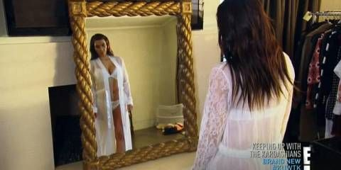 Kim Kardashian tried on her wedding day lingerie on Keeping Up With The Kardashians -Cosmopolitan.co.uk