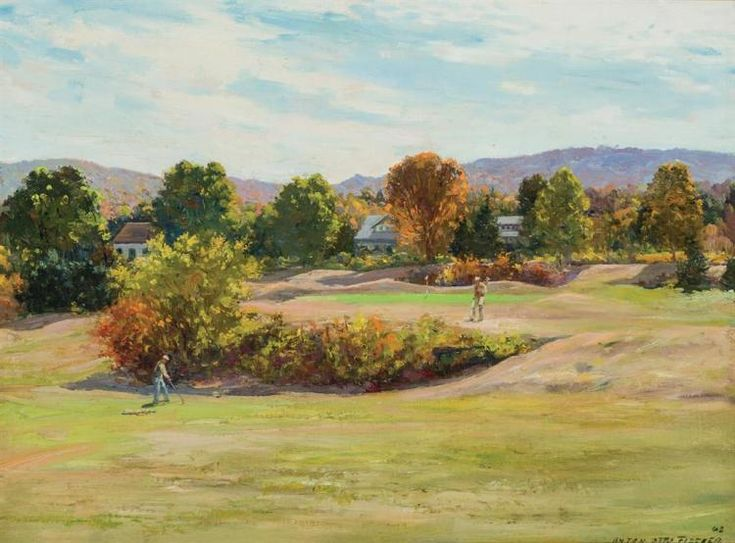 "ANTON OTTO FISCHER, American/German (1882-1962), ""Golf Outing"", oil on canvas, signed ""Anton Otto Fischer"" and dated ""48"" lower righ..."