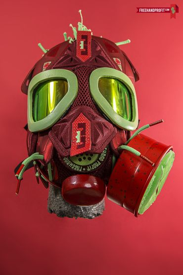 """freehand profit turns rare and retro sneakers into gas masks Nike Lebron 10 """"Christmas"""" Gas Mask 