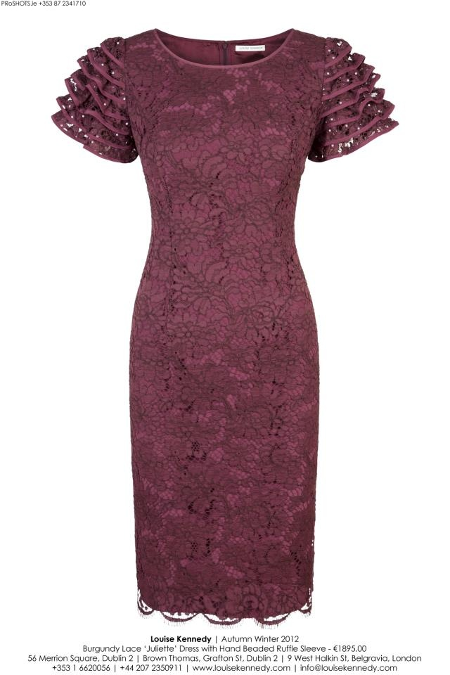 The Louise Kennedy Juliette Burgundy Lace Dress with beaded ruffle sleeve