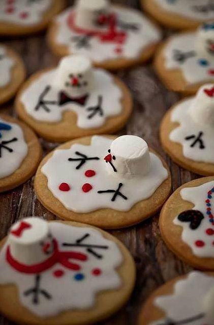 Repinned: Melted snowman cookies