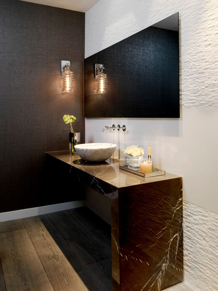 Dazzling frameless mirrors in Powder Room Contemporary with Master Bathroom Sink next to Textured Wall Paper alongside Frameless Mirror and Brown Countertop