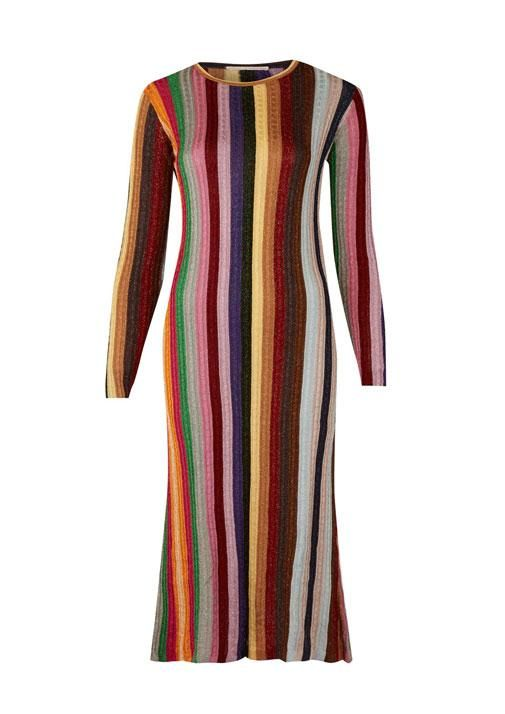 Winter Fashion Edit, Marco De Vincenzo Multicoloured Stripe Dress at @libertylondon, £710.00