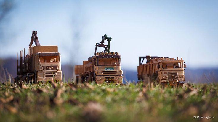 Miniature hancrafted wooden trucks