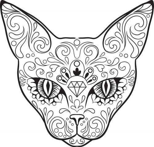 Advanced Coloring Pages Elephant : Advanced coloring sugar skull colouring
