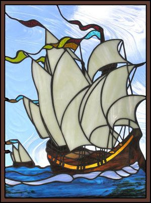 stained glass tall ship