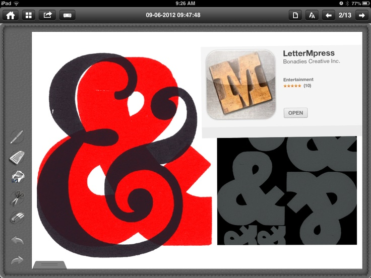 LetterMpress. An excellent iPad app for exploring the challenges and possibilities of printmaking