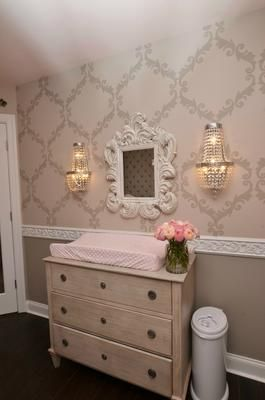 My Pink and Grey Palace Nursery was inspired by several pieces of tufted furniture located throughout my home.   What brand and color of paint did you