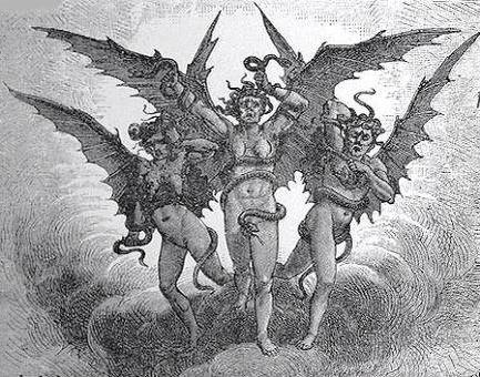 En el sexto circulo son vigilados por las tres furias.(Megera,Alecto y Tisifone)