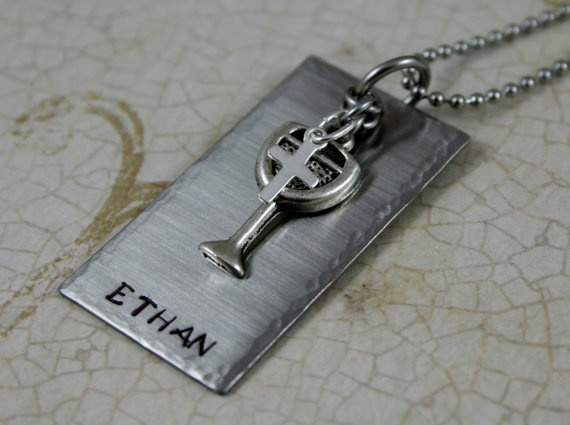 First Communion for Boys Necklace ~~ Stainless steel pendant with wine goblet and silver filled cross charm