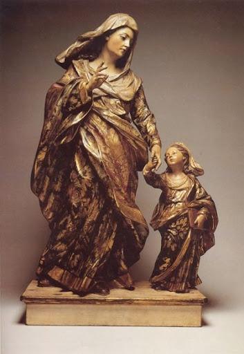 Santa Ana e Nossa Senhora Menina Madeira policromada, alt. 0,86m. Séc. XVIII…