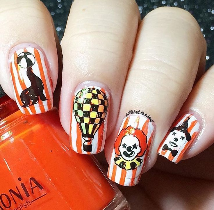 Circus nails by @polished.in.a.snap