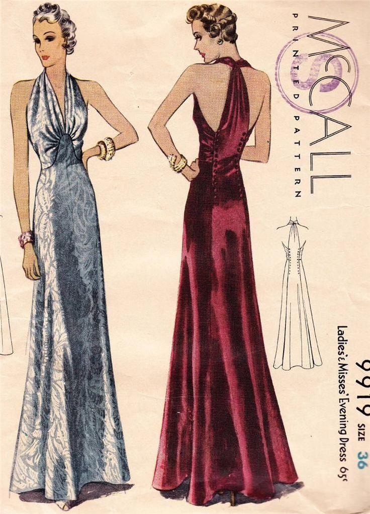 1930s USA MC Calls Deco Vintage Long Glamorous Evening Dress Sewing Pattern 9919 | eBay