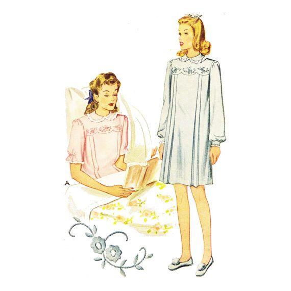 1940s Hospital Gown Pattern Bust 34  Vintage by PatternAndStitch, $44.00