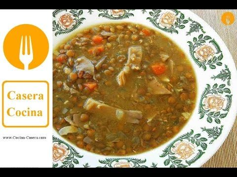 Lentejas con setas. Receta fácil y vídeo   Recetas de Cocina Casera - Recetas fáciles y sencillas
