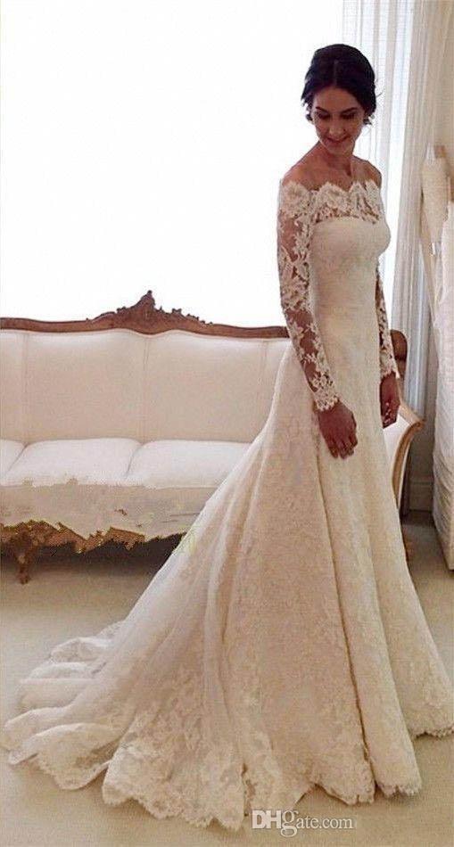 2019 Vestido de novia de encaje de manga larga vintage Bateau Una línea Barrido Tren Ilusión Blusa Capilla larga Jardín Vestidos de novia Vestidos De Novia
