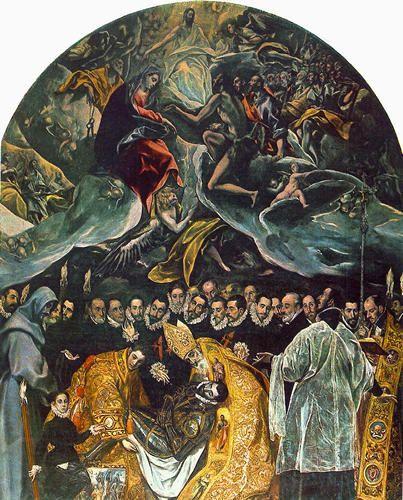 """Le GRECO - """"L'enterrement du Compte d'Orgaz"""" - 1586-1588 - Eglise Saint-Thomas - Tolède."""