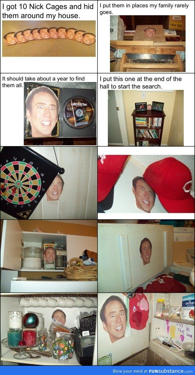 Nicholas Cage scavenger hunt. hahaha oh my gosh this is like Bailey on our floor.. @Amanda Holbrook