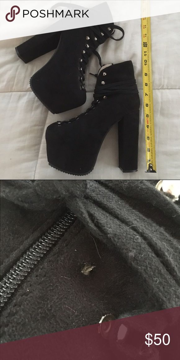 """Hell Bounds 💮Great Condition, Barely Worn!💮                  Not the official hell bounds, but a very good quality off brand. One of the buckles came off but not recognizable because of its location. Comfortable, and nice fabric. Tagged for publicity! My measurements🔻 - 5'2""""  - 120lbs - 32 D Need this GONE ❌ No Trades🚫 Tags: Brandymelville, UNIF, Pacsun, ASOS, H&M, Urban Outfitters, platform heels, killstar, dollskill UNIF Shoes Platforms"""