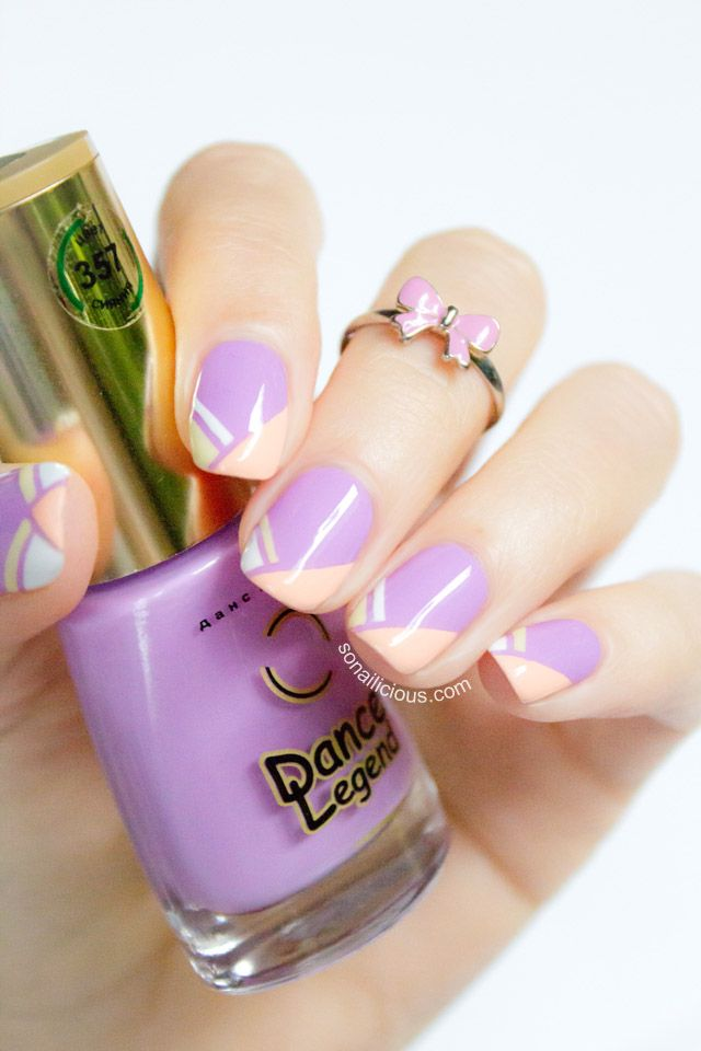 Summer Nails in Lilac - Tutorial: http://sonailicious.com/geometric-french-tip-nails-tutorial/