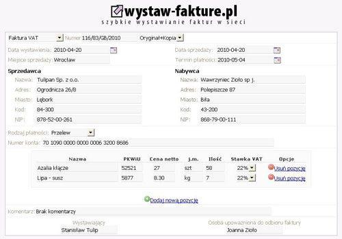 wyszukiwarka - WYSTAW fakturę