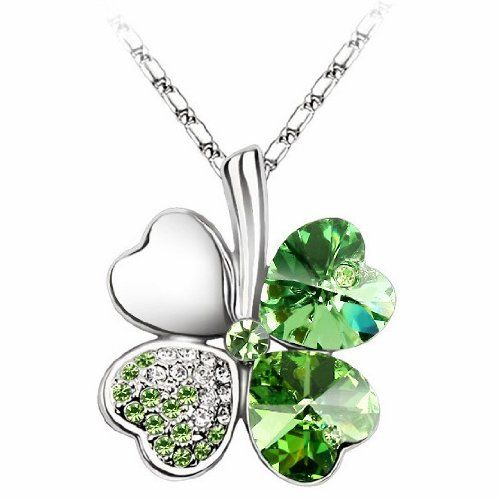 "Swarovski Elements Crystal Four Leaf Clover Pendant Necklace 19""-CN9034SG - http://cheune.com/a/15820877114310861"
