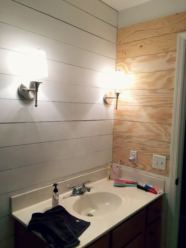 turn a tired bathroom into a spa with faux shiplap faux