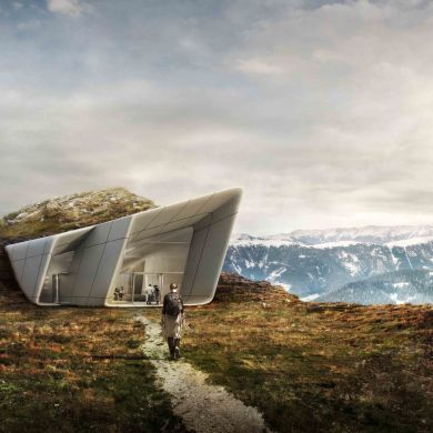 Messner Mountain Museum Corones: Location: Province of Bolzano - South Tyrol, Italy Area: 1000.0 sqm Project Year: 2015  This iconic building overhanging on the hill provides a 240 degree panoramic view.