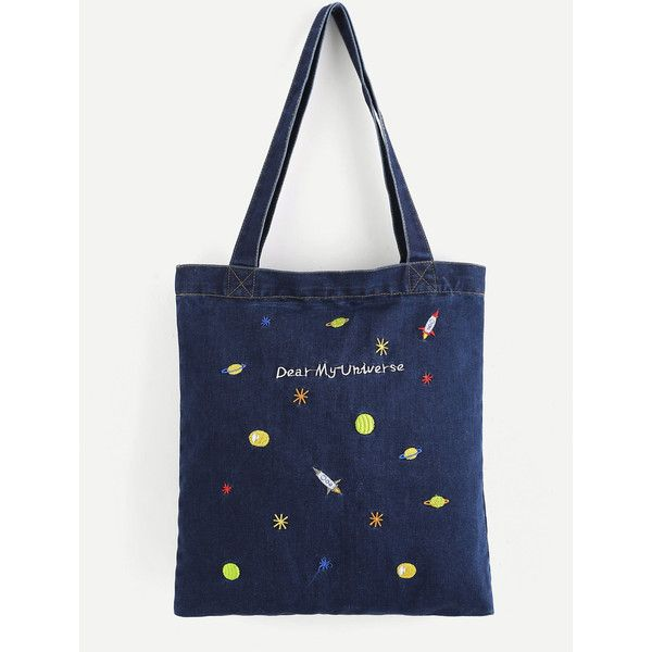 SheIn(sheinside) Embroidered Galaxy Denim Shopper Bag (146.695 IDR) ❤ liked on Polyvore featuring bags, handbags, tote bags, navy, tote handbags, tote purses, shopping tote, navy blue purses and embroidered totes