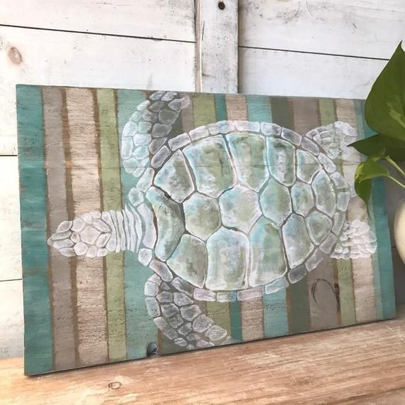 Sea Turtle Painting On Wood Rustic Beach Wall Decor Nautical Decor