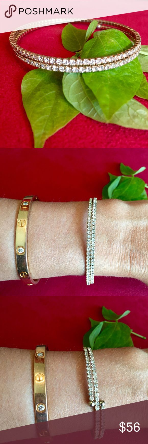 Anthropologie UK rose gold diamanté wrap bracelet Anthropologie UK designer selection rose gold tone (non allergenic) diamanté adjustable to fit all sizes double wrap bracelet. (Could also be worn on the upper arm) Anthropologie Jewelry Bracelets