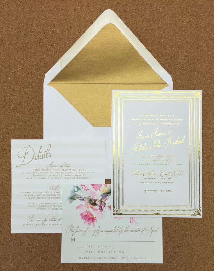 Wedding Invite. Gold Foil. Mint. Foil Envelope Liner. Floral. Modern. Elegant.