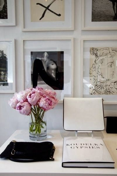 Black and white desk and gallery wall