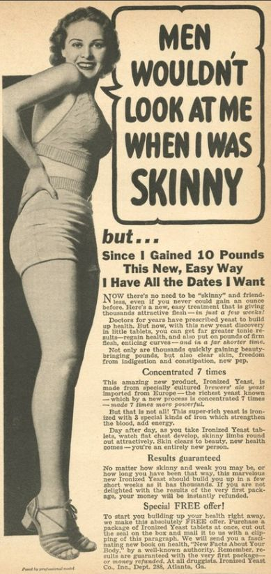 beauty doesn't always come in a skinny package. It comes in all shapes and sizes. As long as you're healthy...that's all that matters. Health is attractive! The weird world of vintage advertising.. haha love how the world has turned away from the real woman beauty | Desizn World