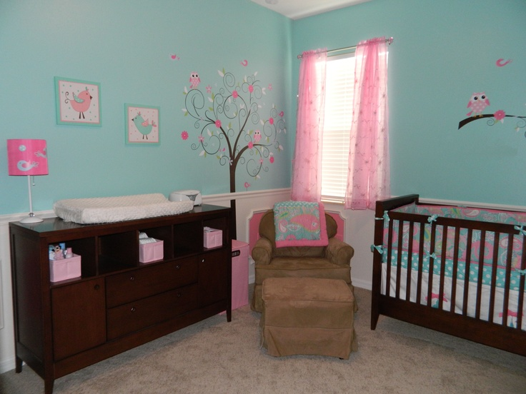 Baby Girlu0027s Aqua/Pink Nursery   Love The Wall Color And Curtains .but Would  Have White Furniture