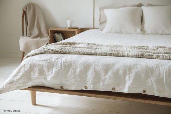 Copripiumino Elegante.Letto Lino Bianco In 2020 Bed Linens Luxury White Linen Duvet