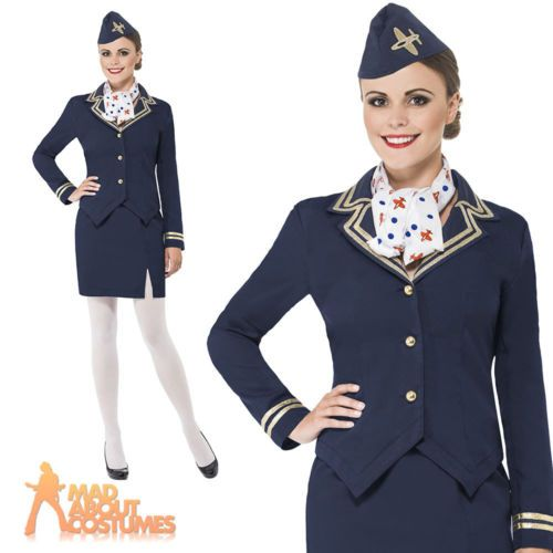 Air #hostess stewardess #costume #cabin crew fancy dress outfit + hat size 8 - 22,  View more on the LINK: http://www.zeppy.io/product/gb/2/151312847298/