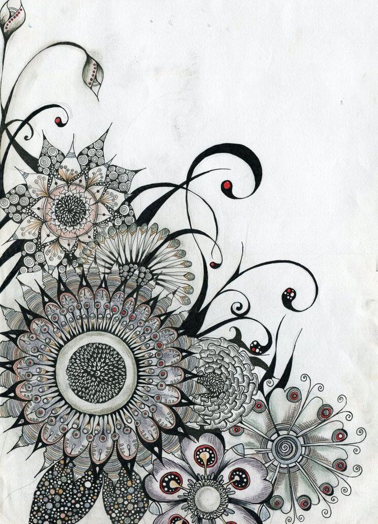 Simple Zentangle Flowers