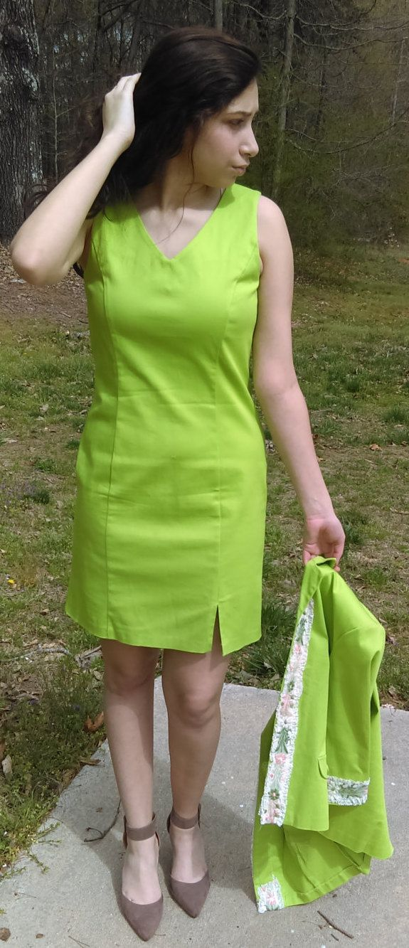 Set of 2 pieces dress from METRO STYLE/Size 6/Lime Green/Dress with Blazer/ 1/4 sleeves/ Office attire or any occasion outfit/Gift for her by GenesisVintageShop on Etsy
