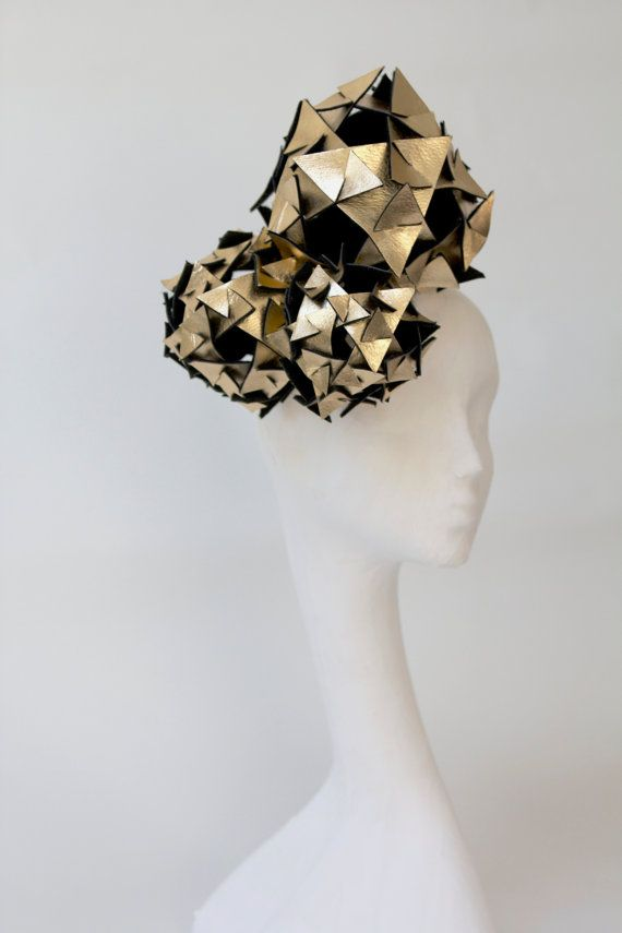 http://www.theheadmistressboutique.com/  Gold metallic leather headpiece, lady gaga, cosmic, triangles, origami, ascot, the races. on Etsy, £410.50