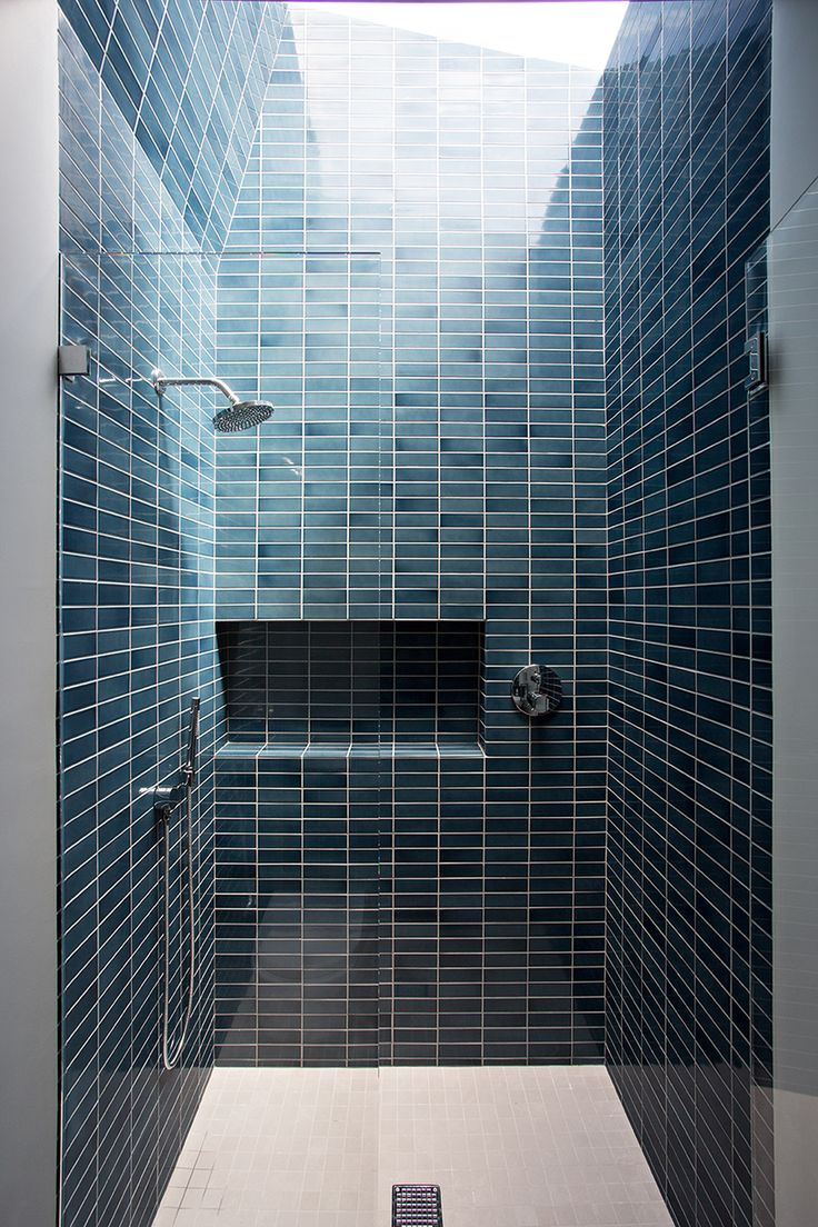 Shower stall with blue wall tiles - Noe Valley Residence | Bach Architecture