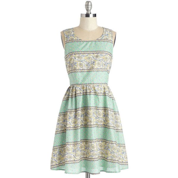 ModCloth Mid-length Sleeveless A-line Tea Fleur Two Dress ($36) ❤ liked on Polyvore featuring dresses, apparel, fashion dress, multi, a line dress, white sleeveless dress, striped dresses, tea party dresses and stripe dress