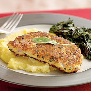 Parmesan and Sage-Crusted Pork Chops   MyRecipes.com #myplate #protein
