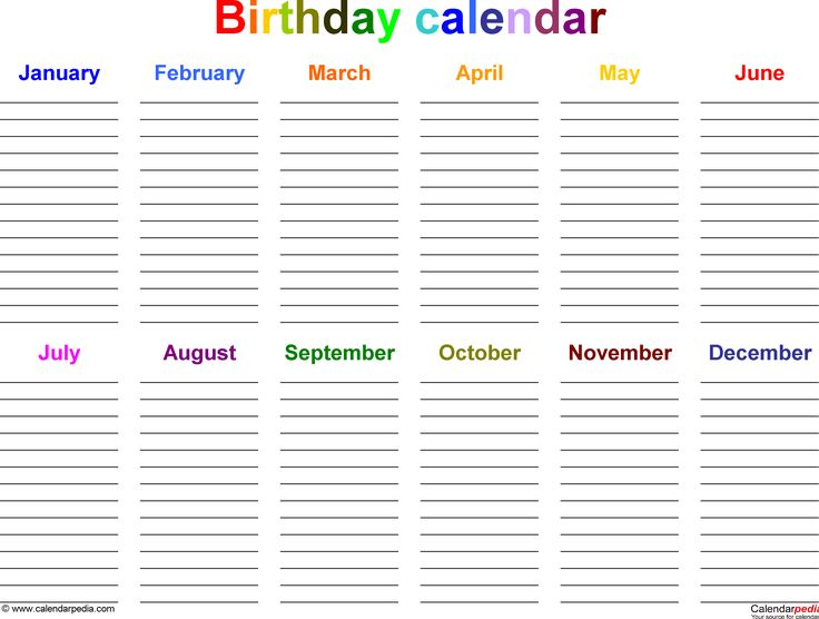 Excel template for birthday calendar in color (landscape orientation, 1 page) from www.calendarpedia.com