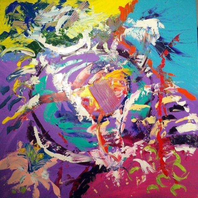 Multicolore n°2 - Painting,  1Mx1M cm ©2015 par Peinture énergétique -  Peinture