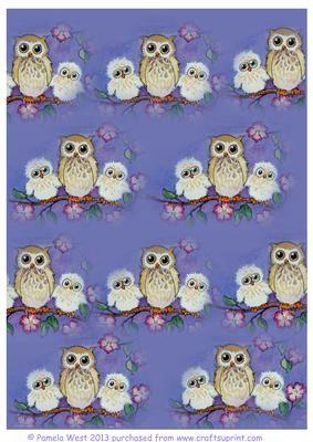 3 Owls background sheet on Craftsuprint - Add To Basket!