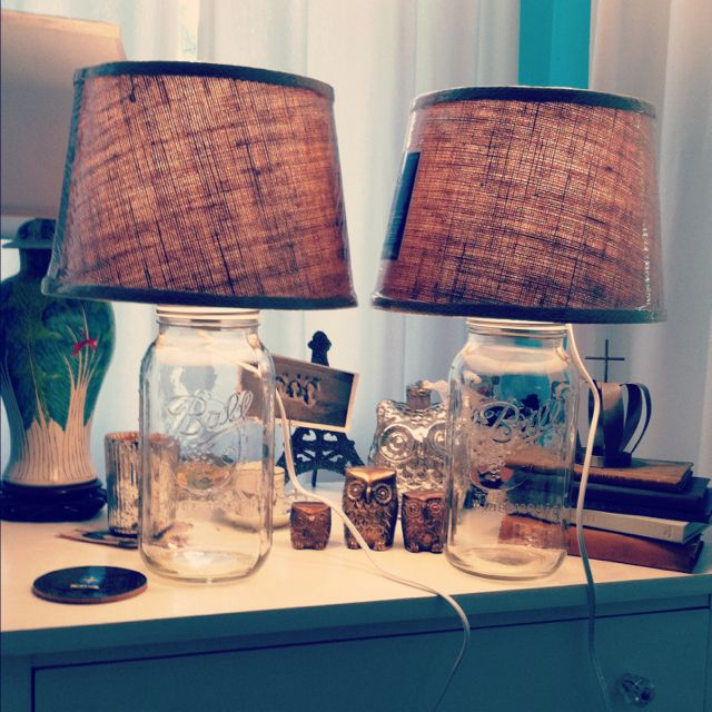 New DIY bedroom lamps. Find a lamp shade that you like then find a mason jar fill it up with something a voila custom lamp