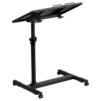 Black Adjustable Height Steel Mobile Computer Desk - Flash Furniture