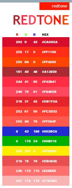 Red tone web color scheme.   RGB + HTML color palette.